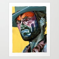 clint eastwood Art Prints featuring Clint Eastwood by Cartyisme