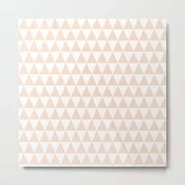 Pink Champagne and White Triangle Pattern Metal Print