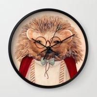 hedgehog Wall Clocks featuring Hedgehog by Animal Crew