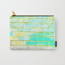 bright yellow and green blue distressed painted brick wall ambient decor rustic brick effect Carry-All Pouch
