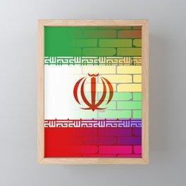 Gay Rainbow Wall Iranian Flag Framed Mini Art Print