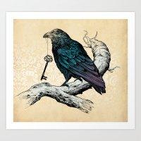 key Art Prints featuring Raven's Key by Rachel Caldwell
