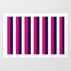 Stripes - Navy, White, Pink Art Print