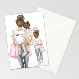 I got it from my mama 2 girls brunette Stationery Cards