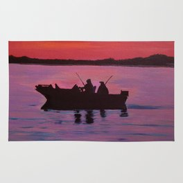 Fishing in the sunset Rug