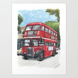 red bus in davis Art Print