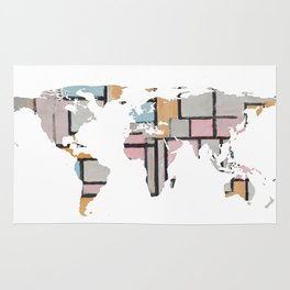 World Map Silhouette - Abstract Piet Mondrian (Wh) Rug