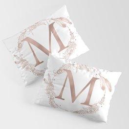 Letter M Rose Gold Pink Initial Monogram Pillow Sham