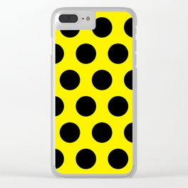 Black Circles on Yellow Background Clear iPhone Case