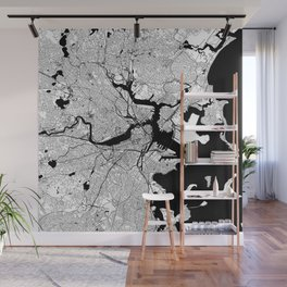 Boston Black and White Map Wall Mural