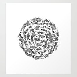 swimming in circles Art Print