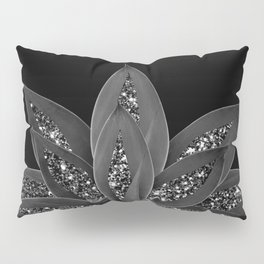 Gray Black Agave with Black Silver Glitter #2 #shiny #tropical #decor #art #society6 Pillow Sham
