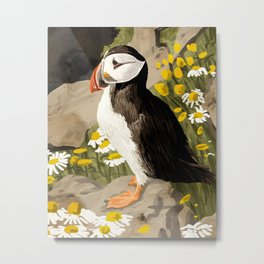 Puffin, Wildlife Birds Animals, Quirky Eclectic Tropical Nature Jungle, Forest Bohemian Painting Metal Print
