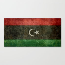 Official flag of the state of Libya, Vintage version to scale  Canvas Print