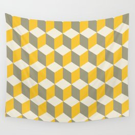 Diamond Repeating Pattern In Yellow Gray and White Wall Tapestry