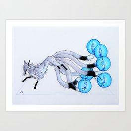 Six-tailed Firefox - blue Art Print