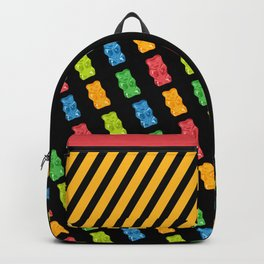 Rainbow Gummy Bears Pattern on Black Background Backpack