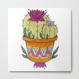 Flowering Pineapple Cactus Design - Potted Cacti Design Metal Print