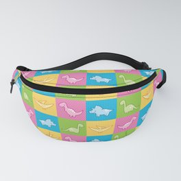 Colorful dinosaurs and pterodactyl cheater quilt Fanny Pack