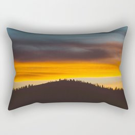 Mountain Hill With Trees Orange And Blue Sunset Clouds Rectangular Pillow
