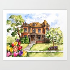 Victorian Mansion in the Spring Art Print