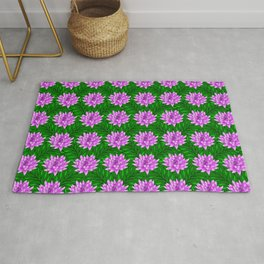 Cute pink blooming lilies and green leaves decorative floral feminine pretty pattern design. Rug