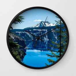 Crater Lake // Incredible National Park Views of the Dark Blue Waters Sky and Mountains through the Wall Clock