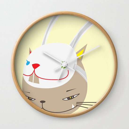 CAT WITH RABBITZ MASK Wall Clock
