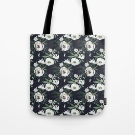 Blush pink white green black watercolor modern floral Tote Bag