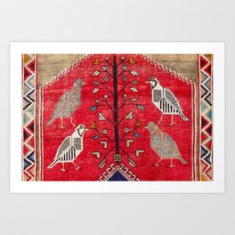 Persian Floral Rug With Several Birds Probably Quail Art Print