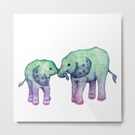 Baby Elephant Love - ombre mint & purple Metal Print