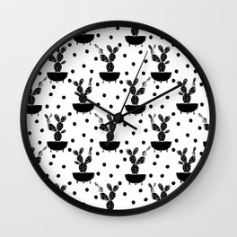 Cactus linocut houseplant cute black and white must have trendy lino print home decor dorm college Wall Clock