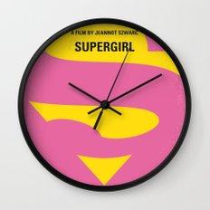 No720 My SUPERGIRL minimal movie poster Wall Clock