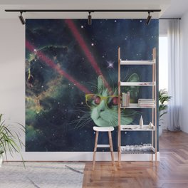 Laser cat with glasses in space Wall Mural