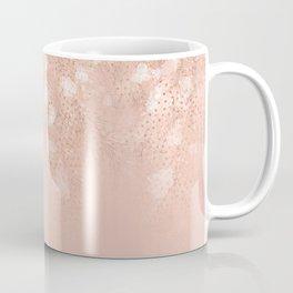 Elegant coral rose gold white ombre floral Coffee Mug