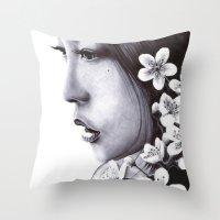 sakura Throw Pillows featuring Sakura by Nester Formentera