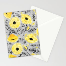 Butter Yellow Poppies on Pearl River Grey Stationery Cards