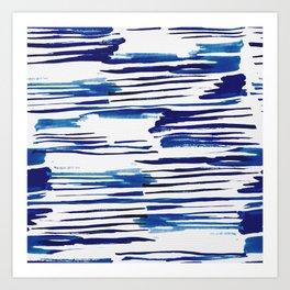 Shibori Paint Vivid Indigo Blue and White Art Print