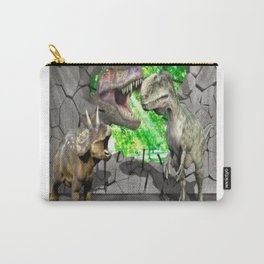 3D Dinosaurs and Broken Wall Carry-All Pouch