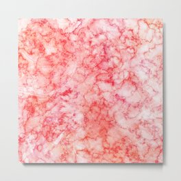 Blush Pink Coral & Peach Marble Watercolor Texture Metal Print