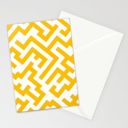 White and Amber Orange Diagonal Labyrinth Stationery Cards