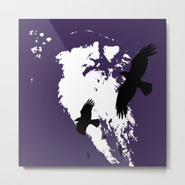 Odin Portrait and Silhouette of Ravens Vector Art Metal Print