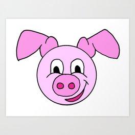childishly drawn pig Art Print