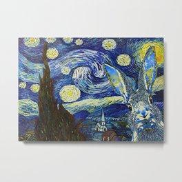 Animals World Starry Night Rabbit Metal Print