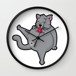 Happy grooming cat time Wall Clock