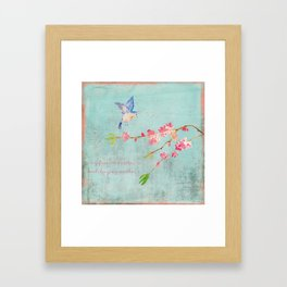 My favorite weather - Romantic Birds Cherryblossoms and Spring Typography on aqua Framed Art Print