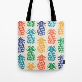 Retro Mid Century Modern Pineapple Pattern in Multi Colors Tote Bag