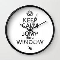 keep calm Wall Clocks featuring Keep Calm by Adrián Peñalver