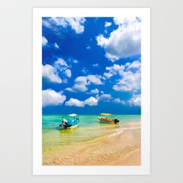 Colorful Little Boats And a Beautiful Tropical Beach Art Print