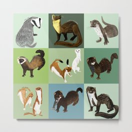 Best Nine :  Mustelids of Spain Metal Print
